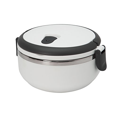 Kitchen Details Stainless Steel 1 Tier White Twist Open Insulated Lunch Box Container Thermos Good for Soup and Hot Food