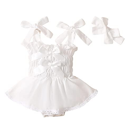 L&ieserram Florali - Conjunto de 2 diademas + ropa de bebé recién nacido con tutú sin mangas con lazo de encaje para primavera, verano, otoño Color blanco. 3-6 Meses