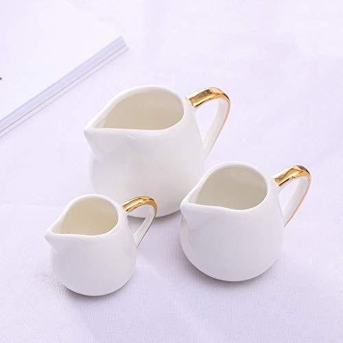 YIFEI2013-SHOP Jarra de Leche Creamer, clásico Blanco Puro de cerámica con la manija, Lanzador Pequeño Café Leche Creamer, Juego de 3 Jarras para Crema
