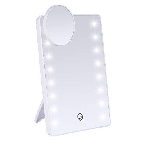 JessLab Beleuchteter Make-up-Spiegel, LED 1 x 10 x Vergrößerung, Make-up-Spiegel, LED beleuchteter Touch-Dimmer Kosmetikspiegel kabelloser Rasierspiegel Badezimmer-Zubehör, weiß
