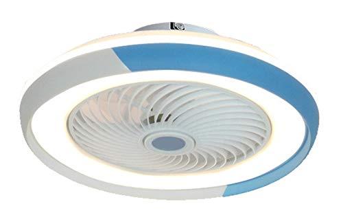 HKLY LED Invisible Ventilador de Techo con Luz y Mando a Distancia, Ventilador Silencioso Control Remoto Regulables Tiempo Lámpara de Techo para Sala de Estar Dormitorio Habitación Infantil 60W,Azul