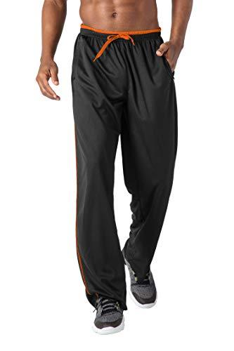KEFITEVD Herren Freizeithose Leicht Dünn Locker Yogahose Sweat Hose mit Seitlich Streifen Turnhose mit Zip-Taschen Casual Quick Dry Sportswear Dunkelgrau-Orange XL