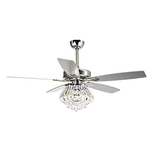 Ceiling Fan with Lights Parrot Uncle 52 Inch Ceiling Fan with Remote Control Modern Crystal Chandelier Fans for Bedroom with 5 Reversible Blades, 3 Bulbs Not Included, Chrome