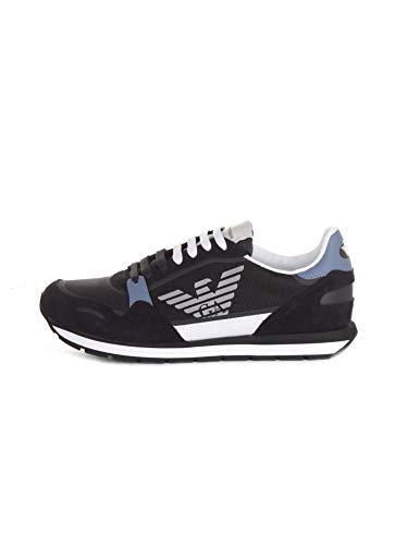 Emporio Armani Sneakers in Pelle con Logo Uomo X4X537 XM678 (Blu/Azzurro, Numeric_44)
