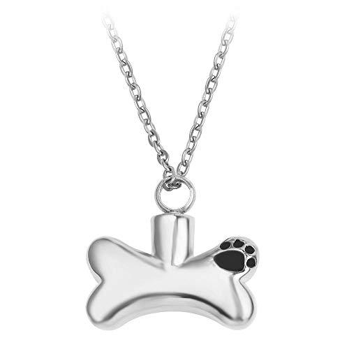 Roestvrij stalen hond botten hond pootafdrukken urnen hangers gedenkteken huisdieren haar ketting