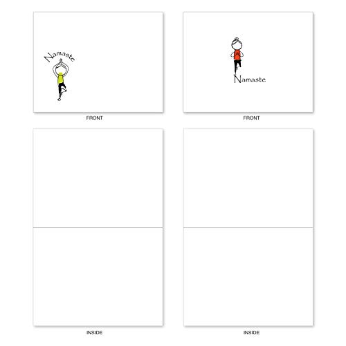 The Best Card Company - 10 Blank Yoga Note Cards Bulk (4 x 5.12 Inch) - Assorted Stick Figure and Animals Cards - Namaste Notes M3963 Photo #3