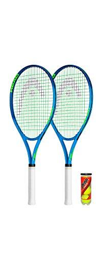 HEAD Ti.Conquest Nano Titanium - Raqueta de tenis (2 unidades, incluye fundas protectoras y 3 pelotas de tenis)