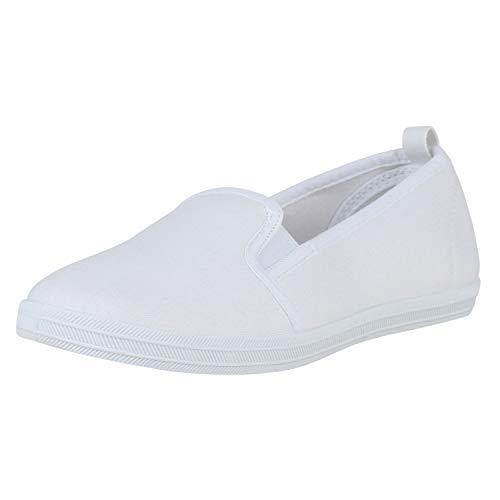 SCARPE VITA Damen Slipper Slip On Flats Bequeme Canvas Schuhe Stoff Sneaker Freizeitschuhe Flats 178978 Weiss Weiss White 36