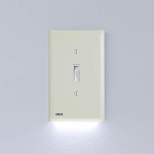 1 Pack SnapPower SwitchLight - Night Light - FOR LIGHT SWITCHES - Light Switch Wall Plate With Built-In LED Night Lights - Bright/Dim/Off Options - (Toggle, Light Almond)