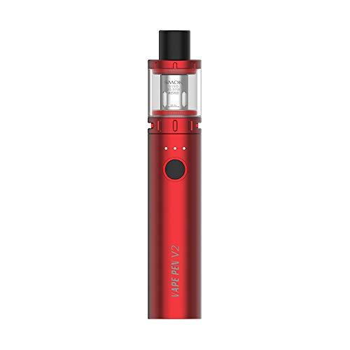S-Mok VAPE PEN V2 Kit (rojo) 60W 1600mAh Batería 2ml Tanque Mallado Bobinas de 0.15ohm, Kit de inicio Vaporizador Cigarrillo electrónico, Sin nicotina