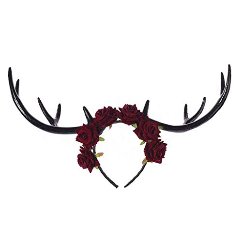 NOSSON Fiesta de Halloween Elk Long Antlers Diadema Velvet Rose Flower Wreath Hair Hoop