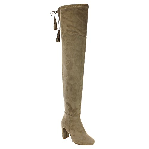 Qupid York-12 Women's Pull On Stretchy Over The Knee Block Heel Boots,Taupe,7