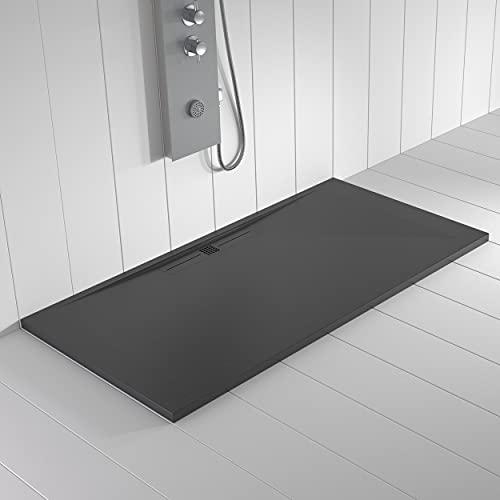 Shower Online Piatto doccia in resina WIDE - 80x120 - Texture in ardesia - Antiscivolo - Tutte le misure disponibili - Include griglia Colore Antracite e piletta - Antracite RAL 7011