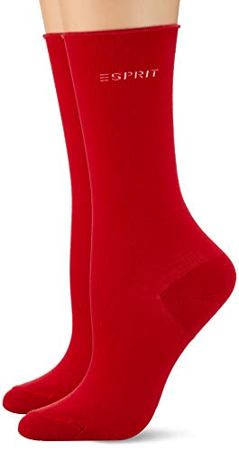 ESPRIT Damen Socken Basic Pure 2-Pack, Baumwolle, 2er Pack, Rot (Red Pepper 8074), 39-42 (UK 5.5-8 Ι US 8-10.5)