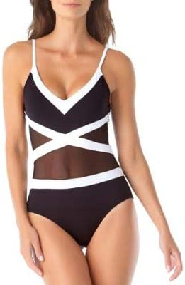 Anne Cole Women's Mesh Spliced Over The Shoulder Sexy One Piece Swimsuit