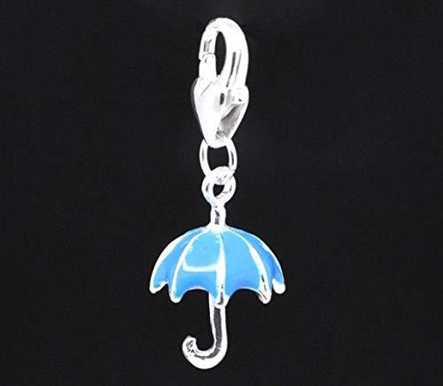 SAVANNAH CHARMS Abalorio Colgante Paraguas Azul esmaltado 33 x 13 mm mosquetón Plateado Joyas