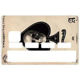 Kustom Factory Sticker voor bankkaart, gemaakt in Frankrijk, Skull AS de Pique