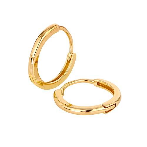 Ohrringe Gold von BRANDLINGER Schmuck Damen. Creolen aus 925 Sterling Silber mit 14 Karat Gold Plattierung. Designed in Deutschland.