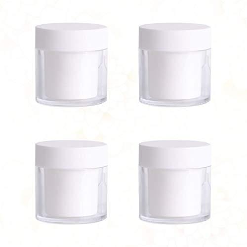 Vosarea 4 Pcs Boîtes en Plastique Vides Portable Cas De Stockage De Voyage Récipients De Maquillage Rechargeables pour Baume À Lèvres Crème Fard À Paupières en Poudre Lâche 30G (Blanc)