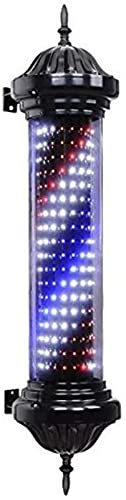 """QHCS Barber Pole Light 27.5""""Barber Shop Pole Rotatorio Led Iluminado Letrero Abierto Rojo Azul Blanco Raya Led Pc Tubo Material para Impermeabilización Exterior Luz Retro Lámpara De Pared Exterior D"""