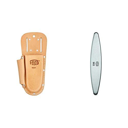 FELCO Baumscheren-Träger Nr.910+ aus Leder mit Tasche, Braun, 35x15x5 cm & 154261 903 Schleifstein, Wetzstein mit Diamant-Beschichtung, für Messer der Gartenscheren geeignet-903, grau Länge 100mm