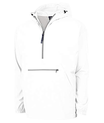 Charles River Apparel Unisex-Adult's Pack-N-Go Wind & Water-Resistant Pullover (Reg/Ext Sizes), White, X-Large