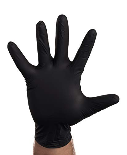 [100 PACK] Large Black Nitrile Exam Gloves - Disposable, Latex Rubber Free, Powder Free, Black Gloves, Non Sterile, Food Safe, 4 Mil, Black Color, Convenient Dispenser by EcoQuality