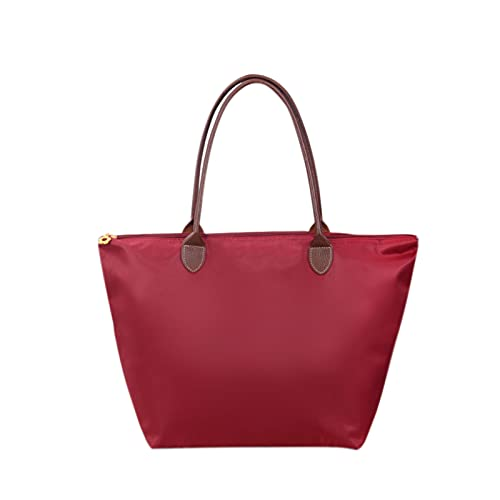 Damen Handtasche Tote Bag Große Kapazität Casual Daily Schultertasche Hobo Taschen für Reisen Shopping, weinrot, Large