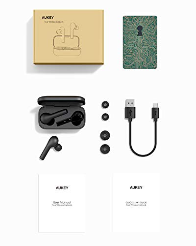 AUKEY True Wireless Earbuds, Bluetooth 5 Headphones in Ear with Charging Case, Hands-Free Headset with Noise Cancellation Mic, Touch Control, 25 Hours Playback for iPhone and Android 7