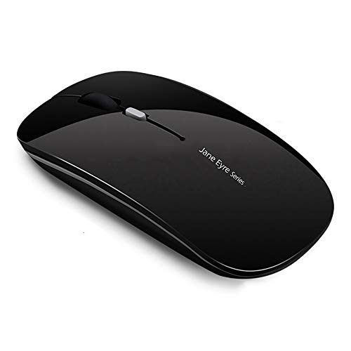 Q5 Slim Rechargeable Wireless Mouse, 2.4G Portable Optical Silent Ultra Thin Wireless Computer Mouse with USB Receiver and Type C Adapter, Compatible with PC, Laptop, Notebook, Desktop Black