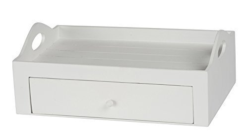 DRULINE 2in1 Serviertablett mit Schublade Holztablett Teetablett Kaffeetablett mit Schublade zum Transportieren erhöhter Rand aus Holz im Landhaus Stil | L x B x H 30 x 20 x 11.5 | Weiß