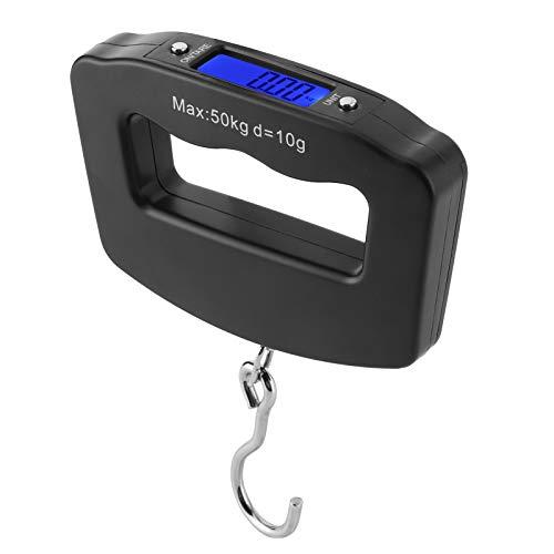 Zerodis Báscula digital de pesca para equipaje, báscula digital electrónica de 50 kg, gancho para colgar portátil/LCD retroiluminado/para cocina, pesca, alimentos, envío, correos