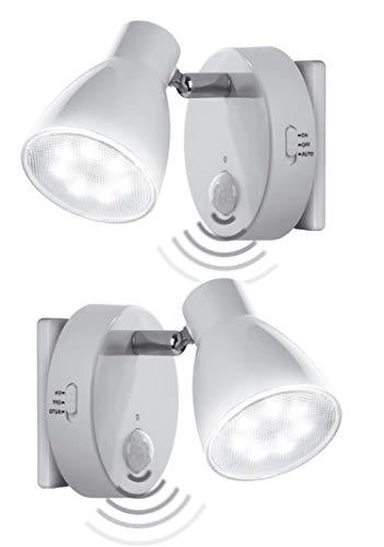 Trango 2er Set Sensor LED de luz nocturna TG2635-026 en blanco con función automática 230V con sensor de movimiento, luz de seguridad, lámpara de enchufe, lámpara de pared, luz de orientación