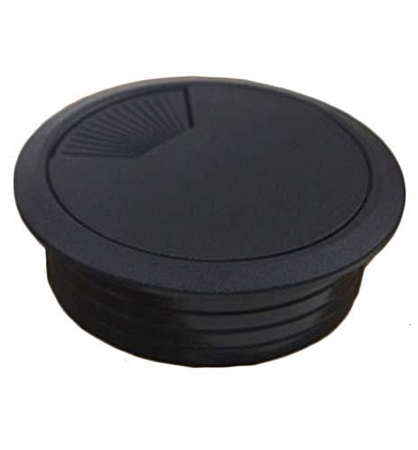 Insun 10 Unids Tapa Pasacables para Mesas de Computadora Escritorios, Tapa Organizador de Cable de Plástico, Cable Pasacables Redondos Negro Ø 50mm
