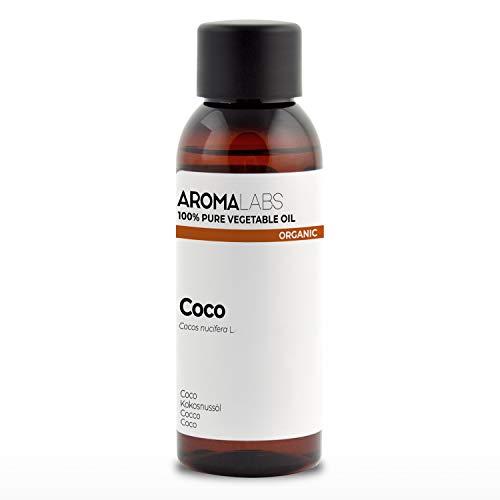 100% BIO - Huile végétale de COCO - 50mL - Garantie Pure, Naturelle, Issue de l'agriculture Biologique, Pressée à froid - Aroma Labs (Marque Française)