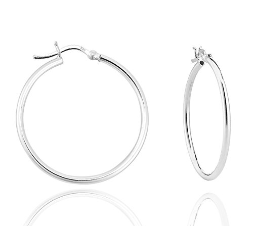 DTPSilver - 925 Sterling Silver Creoles Hoops Earrings - Thickness 2 mm - Diameter 35 mm