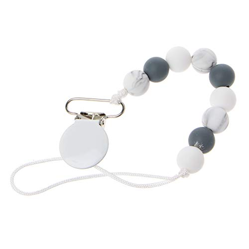 LANDUM Perles De Silicone Attache Tétine en Perles De Silicone Couleur Bonbon Baby Krankenpflege Armbänder Kauen Perlen Kinderkrankheiten Rasseln Spielzeug - Gris