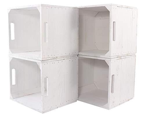 Kontorei® Neue weiße Kiste für IKEA Kallax Regal Expedit 33cm x 37,5cm x 32,5cm 6er Set Einsatz Aufbewahrungsboxen Obstkisten Weinkisten Aufbewahrungskiste Regal Holz Kiste klassisch