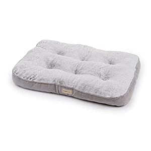 PoochPlanet LuxeSpot Crate Mat, Dog Bed, Cozy, Cushioned, Durable Plush, Soft, Tufted, Thick, 2-Tone Gray, Medium (31×22)