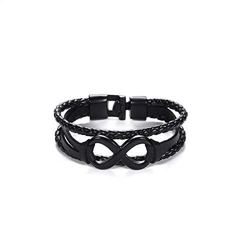 LLXXYY Lederen Armband, Lederen Bangle Punk Mannen Gevlochten Touw Ketting Infinity Drie Lagen Casual Business Gift Mannen Sieraden Accessiors