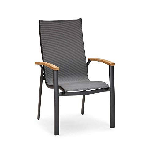 Gartentraum Elegante Silla apilable de Ergotex y Aluminio - Silla Spirabilis/Antracita