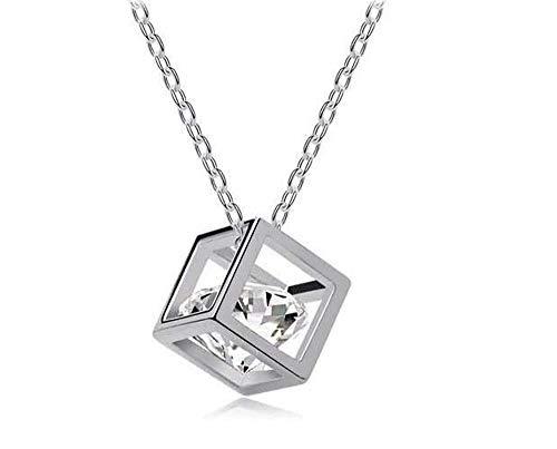 Kristalwürfel (Swarovski-Element) in 925er Silber Cage & Kette