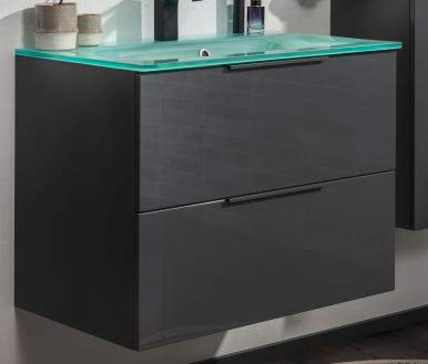 FACKELMANN Luna Badmöbel Set 2 Teile/Glas Waschbecken/Waschbeckenunterschrank mit 2 Schubladen/Badschrank mit Soft-Close/hochwertige Möbel fürs Bad/Korpus & Front: Schwarz/Breite: 80 cm