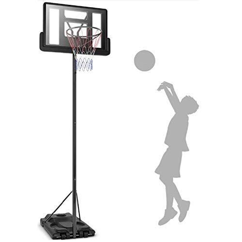 portátil Juego de Baloncesto, Canasta Baloncesto con Soporte y 2 Ruedas Soporte de Baloncesto Altura Ajustable para niños/jóvenes/Adolescentes,Black
