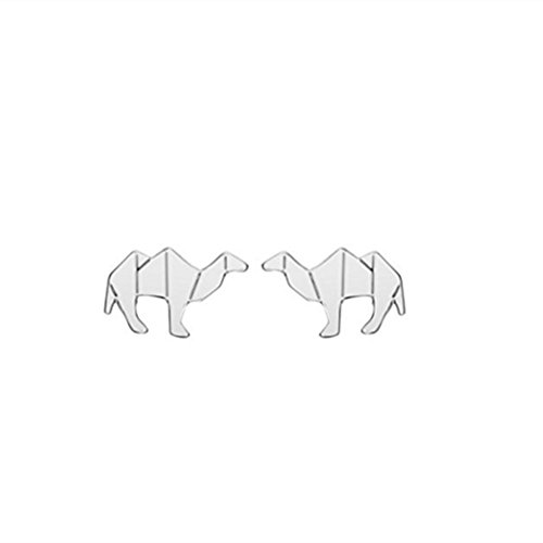 Pendientes de camello de origami, diseño de animales, color dorado y plateado