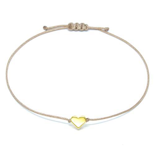 Selfmade Jewelry Herz Armband Gold - Braunes Armband Makramee Armbändchen mit goldenem Herzchen - Größenverstellbar - Handmade Inkl. Schmucksäckchen