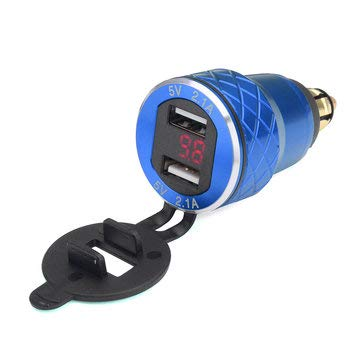 JenNiFer 12V-24V 4.2A Voltmètre Rouge Moto Double USB Chargeur Din Socket pour BMW Moto - Bleu