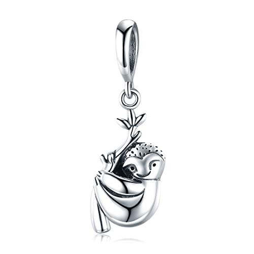 925 Sterling Silver Cute Sloth Charms Beads Fit for Pandora Snake Chain Bracelet Necklace Cute Animal Peandant