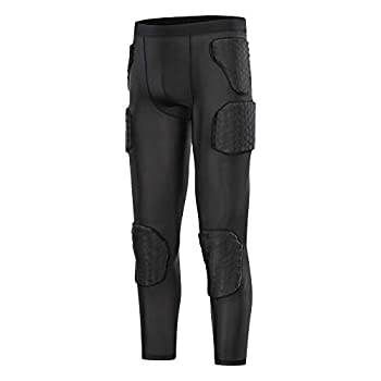 TUOY Men s Padded Compression Pants Quick Drying Tight Protective 7 Pad Football Girdle Hip Thigh Protector