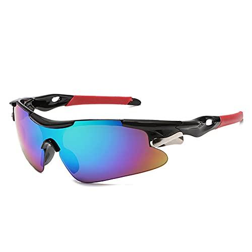 XIAOLW Gafas de sol deportivas Bicicleta de carretera Gafas de ciclismo de montaña Gafas de protección Gafas de ciclismo MTB Gafas de sol Hombres Mujer (ROJO AZUL)
